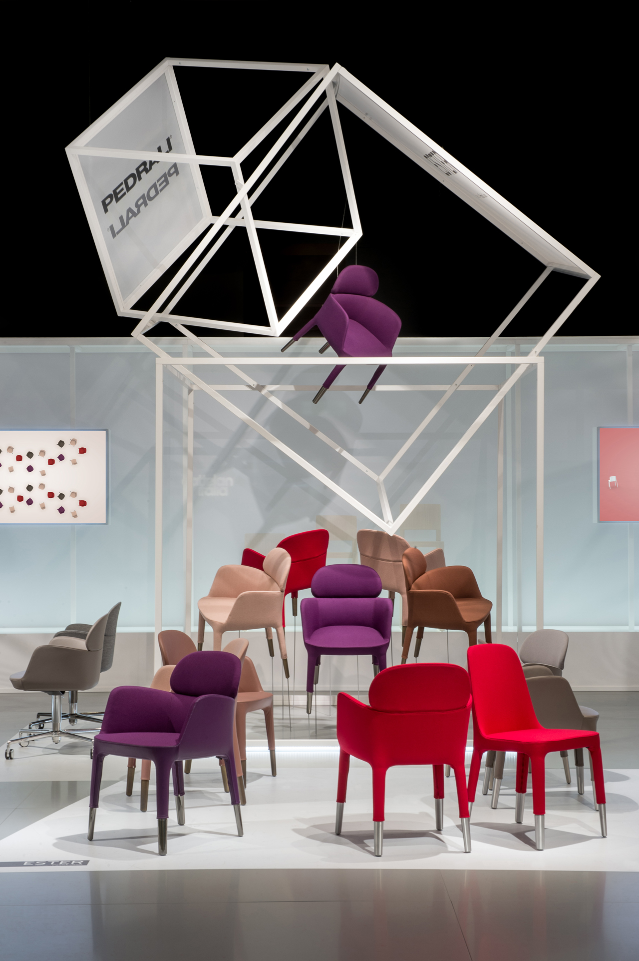 The concept of the pedrali flying boxes stand at the for Salone del mobile stand